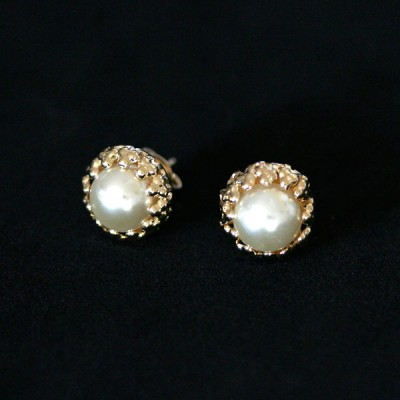 Earring Gold Plated Jewelry Semi Pearl Small